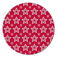 Star Red White Line Space Magnet 5  (round)