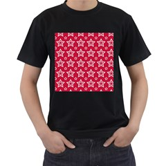Star Red White Line Space Men s T Shirt (black)