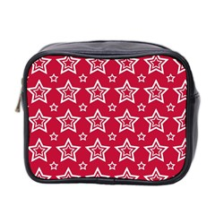 Star Red White Line Space Mini Toiletries Bag 2 Side by Alisyart