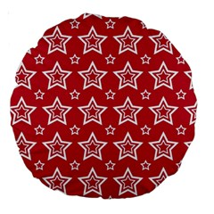 Star Red White Line Space Large 18  Premium Round Cushions by Alisyart