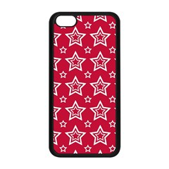 Star Red White Line Space Apple Iphone 5c Seamless Case (black)