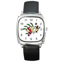 Tomatoes Carrots Square Metal Watch