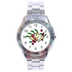 Tomatoes Carrots Stainless Steel Analogue Watch