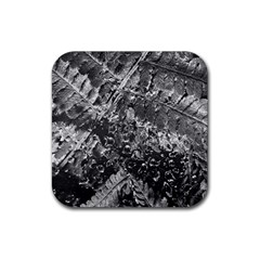 Fern Raindrops Spiderweb Cobweb Rubber Coaster (square)  by Simbadda
