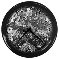 Fern Raindrops Spiderweb Cobweb Wall Clocks (black)