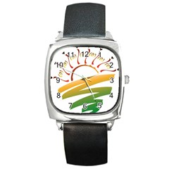 Sunset Spring Graphic Red Gold Orange Green Square Metal Watch