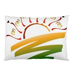 Sunset Spring Graphic Red Gold Orange Green Pillow Case by Alisyart