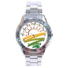 Sunset Spring Graphic Red Gold Orange Green Stainless Steel Analogue Watch by Alisyart