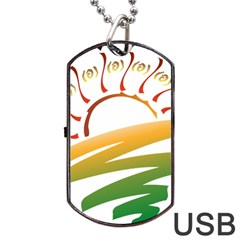 Sunset Spring Graphic Red Gold Orange Green Dog Tag Usb Flash (one Side)