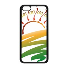 Sunset Spring Graphic Red Gold Orange Green Apple Iphone 5c Seamless Case (black)