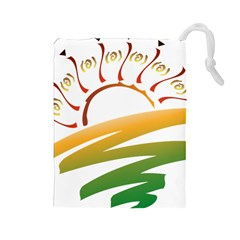 Sunset Spring Graphic Red Gold Orange Green Drawstring Pouches (large)
