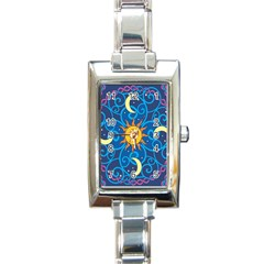 Sun Moon Star Space Purple Pink Blue Yellow Wave Rectangle Italian Charm Watch by Alisyart