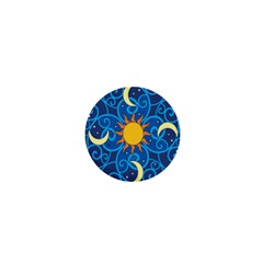 Sun Moon Star Space Purple Pink Blue Yellow Wave 1  Mini Buttons