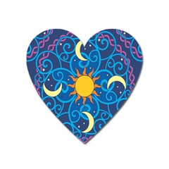 Sun Moon Star Space Purple Pink Blue Yellow Wave Heart Magnet by Alisyart