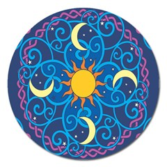 Sun Moon Star Space Purple Pink Blue Yellow Wave Magnet 5  (round)