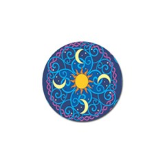 Sun Moon Star Space Purple Pink Blue Yellow Wave Golf Ball Marker (10 Pack)