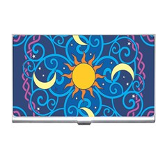 Sun Moon Star Space Purple Pink Blue Yellow Wave Business Card Holders by Alisyart