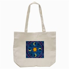 Sun Moon Star Space Purple Pink Blue Yellow Wave Tote Bag (cream) by Alisyart