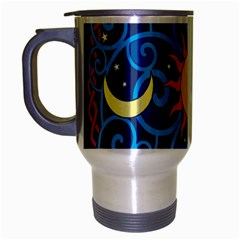 Sun Moon Star Space Purple Pink Blue Yellow Wave Travel Mug (silver Gray) by Alisyart