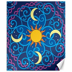 Sun Moon Star Space Purple Pink Blue Yellow Wave Canvas 8  X 10  by Alisyart