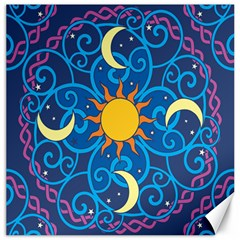Sun Moon Star Space Purple Pink Blue Yellow Wave Canvas 12  X 12