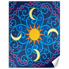 Sun Moon Star Space Purple Pink Blue Yellow Wave Canvas 18  X 24   by Alisyart