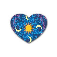 Sun Moon Star Space Purple Pink Blue Yellow Wave Rubber Coaster (heart)  by Alisyart