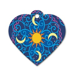 Sun Moon Star Space Purple Pink Blue Yellow Wave Dog Tag Heart (two Sides) by Alisyart