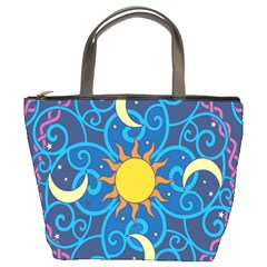 Sun Moon Star Space Purple Pink Blue Yellow Wave Bucket Bags by Alisyart