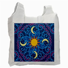 Sun Moon Star Space Purple Pink Blue Yellow Wave Recycle Bag (two Side)