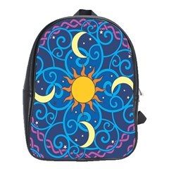 Sun Moon Star Space Purple Pink Blue Yellow Wave School Bags(large)