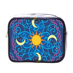 Sun Moon Star Space Purple Pink Blue Yellow Wave Mini Toiletries Bags by Alisyart