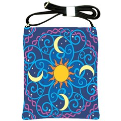 Sun Moon Star Space Purple Pink Blue Yellow Wave Shoulder Sling Bags by Alisyart