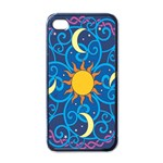 Sun Moon Star Space Purple Pink Blue Yellow Wave Apple iPhone 4 Case (Black) Front
