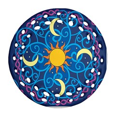 Sun Moon Star Space Purple Pink Blue Yellow Wave Round Filigree Ornament (two Sides) by Alisyart