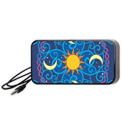 Sun Moon Star Space Purple Pink Blue Yellow Wave Portable Speaker (black) by Alisyart