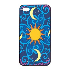 Sun Moon Star Space Purple Pink Blue Yellow Wave Apple Iphone 4/4s Seamless Case (black) by Alisyart