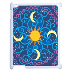 Sun Moon Star Space Purple Pink Blue Yellow Wave Apple Ipad 2 Case (white) by Alisyart