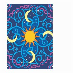 Sun Moon Star Space Purple Pink Blue Yellow Wave Small Garden Flag (two Sides)
