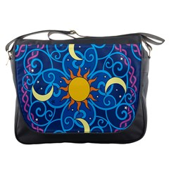Sun Moon Star Space Purple Pink Blue Yellow Wave Messenger Bags by Alisyart