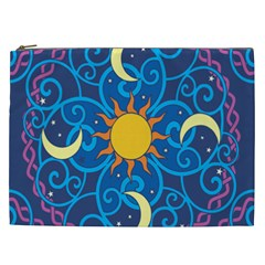 Sun Moon Star Space Purple Pink Blue Yellow Wave Cosmetic Bag (xxl)