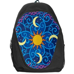 Sun Moon Star Space Purple Pink Blue Yellow Wave Backpack Bag