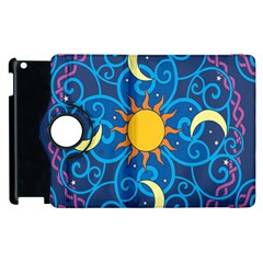 Sun Moon Star Space Purple Pink Blue Yellow Wave Apple Ipad 2 Flip 360 Case by Alisyart