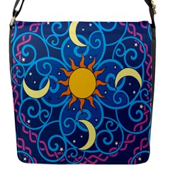 Sun Moon Star Space Purple Pink Blue Yellow Wave Flap Messenger Bag (s) by Alisyart