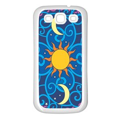 Sun Moon Star Space Purple Pink Blue Yellow Wave Samsung Galaxy S3 Back Case (white) by Alisyart
