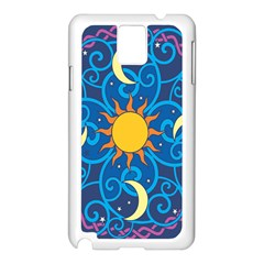 Sun Moon Star Space Purple Pink Blue Yellow Wave Samsung Galaxy Note 3 N9005 Case (white)