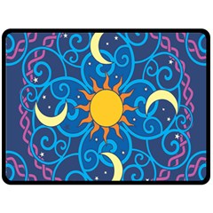 Sun Moon Star Space Purple Pink Blue Yellow Wave Double Sided Fleece Blanket (large)