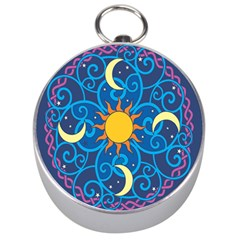 Sun Moon Star Space Purple Pink Blue Yellow Wave Silver Compasses by Alisyart