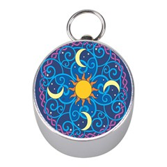Sun Moon Star Space Purple Pink Blue Yellow Wave Mini Silver Compasses by Alisyart