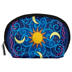 Sun Moon Star Space Purple Pink Blue Yellow Wave Accessory Pouches (large)  by Alisyart